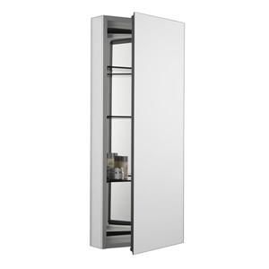 KOHLER Catalan Medicine Cabinet - 15-in x 36.13-in - Aluminum - Silver