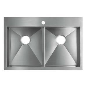 KOHLER Drop-in Double Kitchen Sink - 33-in - Silver