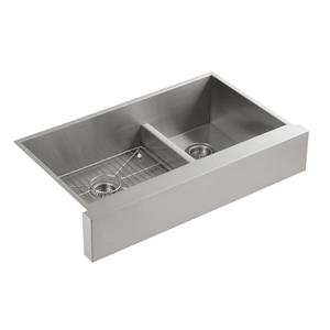 KOHLER Vault Double Kitchen Sink - 21.25-in - Silver