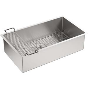 KOHLER Strive Undermount Single Kitchen Sink - 32-in - Silver