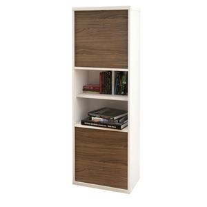 Nexera Liber-T TV Stand and Bookcase - White and Walnut - 2 Piece