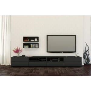 Nexera Avenue TV Stand and Wall Shelves - Black  - 3-Piece