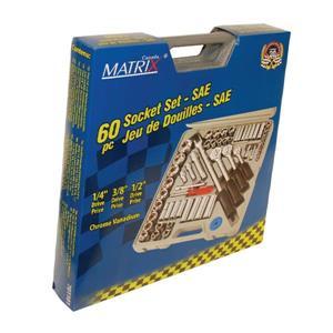"Matrix Toolway 60-Piece SAE Socket Set 1/4""- 3/8"" -1/2"""