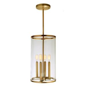 JVI Designs Gramercy 4-Light Pendant - 10-in x 59.5-in - Satin Brass