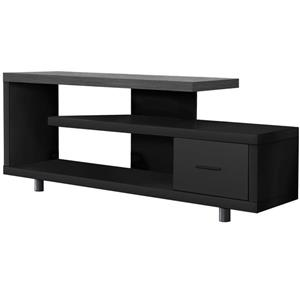 Monarch TV Stand with Grey Top and 1 Drawer - Black - 60-in L