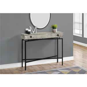 Monarch Accent Table - Console Grey Reclaimed Wood and Black 42-in