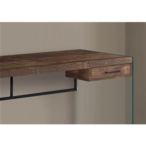 Monarch Computer Desk Glass Panels -  Brown Reclaimed Wood - 48-in