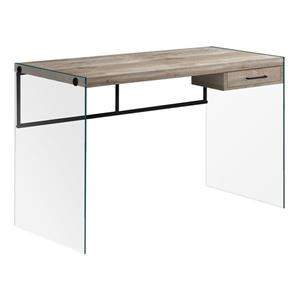 Monarch Computer Desk Glass Panels -  Taupe Reclaimed Wood - 48-in
