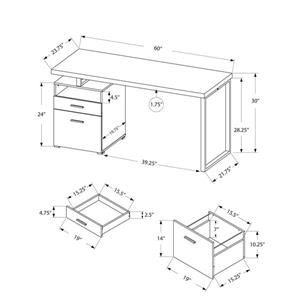 Monarch Computer Desk with 2 Drawers - Black / Grey Top - 60-in L