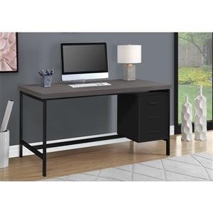 Monarch Computer Desk - Black with grey Top - 60-in