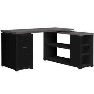 Monarch Computer Desk - L-Shape - Black and Grey Top
