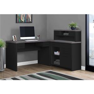 Monarch Computer Desk with Crib L-Shape - Black and Grey Top
