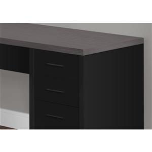 Monarch Specialties I 7431 Black//Grey Top Corner W//Tempered Glass Computer Desk,