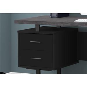 Monarch Computer Desk - Black / Grey Top / Black Metal - 60-in L