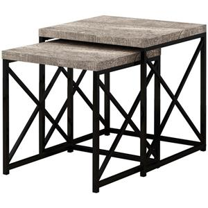 Monarch Nesting Table Taupe Reclaimed Wood/Black - 2 Pcs Set