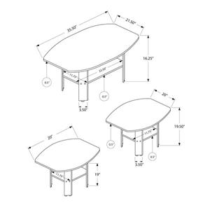 Monarch Table Set with Angles -  Black with Grey Top -  Set of 3