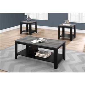 Monarch Table Set -  Black with Grey Top -  Set of 3