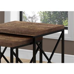 Monarch Nesting Table Brown Reclaimed Wood/Black - 2 Pcs Set