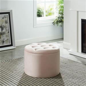 !nspire Button Tufted Velvet Ottoman with Storage - 19,75-in - Pink
