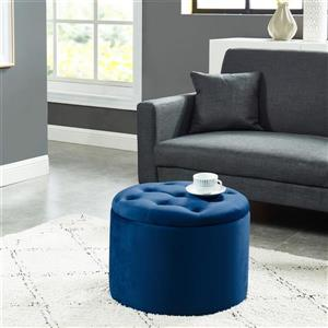 !nspire Button Tufted Velvet Ottoman with Storage - 19,75-in - Blue