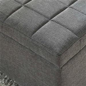 "WHI Fabric Storage Ottoman - Grey - 35.50"" x 14"""