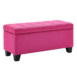 "WHI Storage Ottoman - Pink - 35.50"" x 14"""