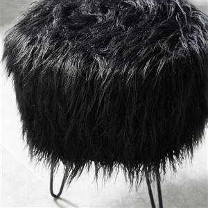 !nspire Faux Decorative Fur Ottoman - 14.5-in - Black