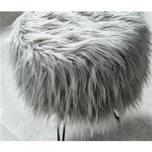 !nspire Faux Decorative Fur Ottoman - 14.5-in - Grey