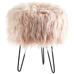 !nspire Faux Decorative Fur Ottoman - 14.5-in - Pink