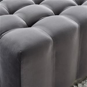!nspire Ottoman with Silver Base - 36-in x 36-in - Grey