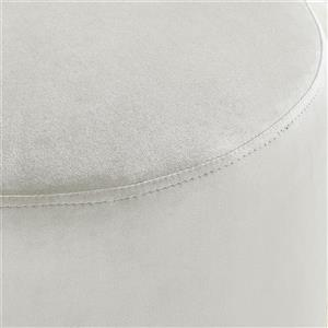 !nspire Ottoman with Silver Base - 18-in - Ivory