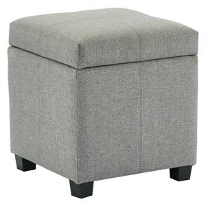 WHI Hinged Lid Storage Ottoman/Pouf - Grey Fabric -17-in x 17-in x 19-in
