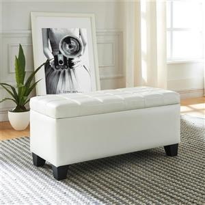 WHI Faux Leather Storage Ottoman - White - 35.5-in x  14-in