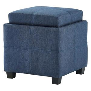 WHI Fabric Storage Pouf with Reversible Tray Lid - Blue Grey