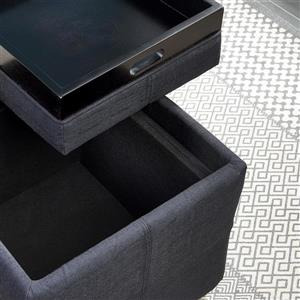 WHI Fabric Storage Pouf with Reversible Tray Lid - Black
