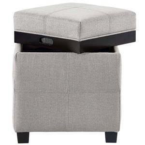 WHI Fabric Storage Pouf with Reversible Tray Lid - Grey