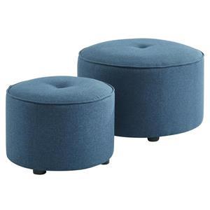WHI 2 PC WHI Ottoman / Pouf Set, Blue Fabric