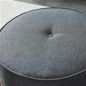 WHI 2 PC WHI Ottoman / Pouf Set, Grey Fabric