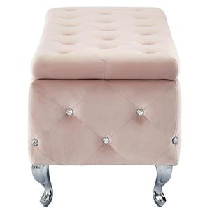 !nspire Velvet Storage Bench with Crystals, 37.49-in, Blush