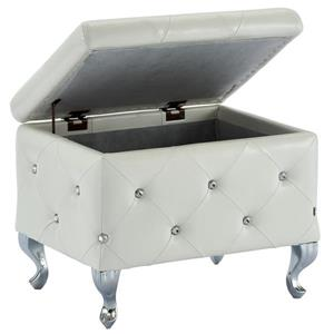 !nspire Faux Leather Storage Bench with Crystals - 21.75-in - White