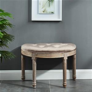 !nspire Button Tufted Velvet Bench - 24.5-in - Taupe