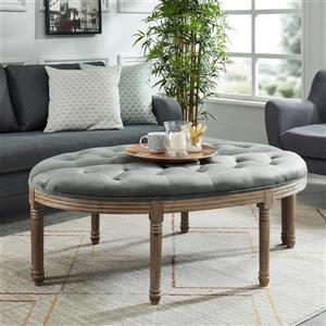 !nspire Button Tufted Velvet Bench - 24.5-in - Grey