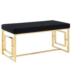 !nspire Velvet Bench - Golden Base - 18-in x 39-in - Black