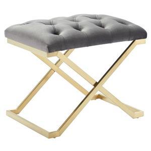 !nspire Velvet and Steel Decorative Bench - 22-in - Grey/Gold