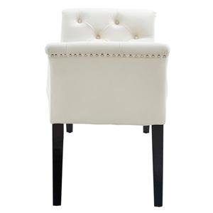 !nspire Velvet Tufted Bench with Stud Detail - 49-in - Ivory