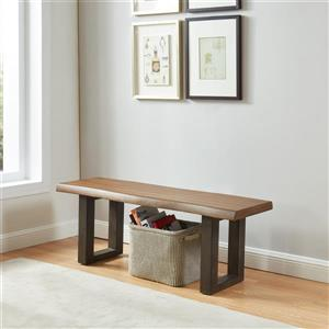 WHI Acacia Veneer Live Edge Bench - Grey Solid Wood Legs - 50-in