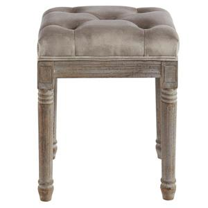 !nspire Button Tufted Velvet Bench - 16-in x 16-in - Taupe