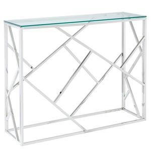 !nspire Console Table - Clear Glass - 30.75-in x 11.75-in - Stainless Steel Base