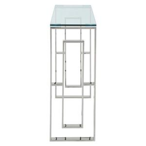 !nspire Stainless Steel Console Table - 30.75-in x 11.75-in - Clear Glass