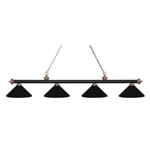Z-Lite Riviera Traditional 4-Light Kitchen Island Light - Black